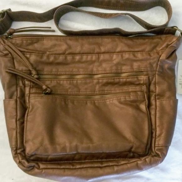 St. John's Bay Handbags - St. john's Bay Leather Multi-zipper Hobo Bag